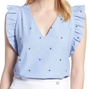 1901 Sleeveless Blouse Embroidered Anchor Print
